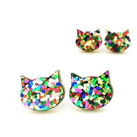 blossom and cat earrings 'glitter cat large studs' confetti