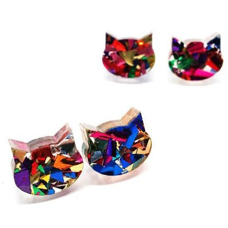 blossom and cat earrings 'fancy glitter cat mini studs' fireworks