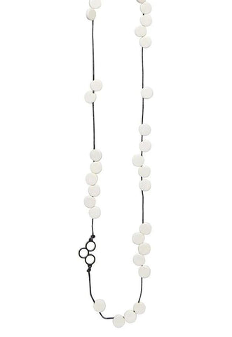 elk necklace 'disc bead disc station' white
