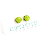 blossom and cat earrings 'mini dot studs' lime green