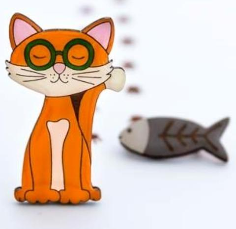 bok bok b'gerk brooch 'theodore the cat'