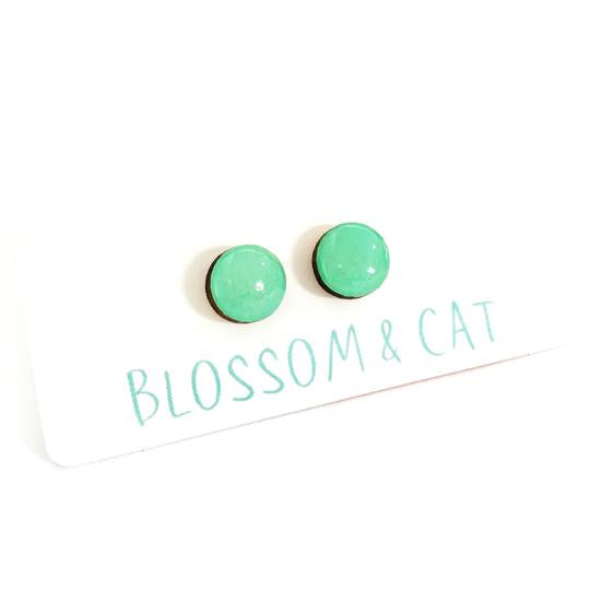 blossom and cat earrings 'mini dot studs' mint