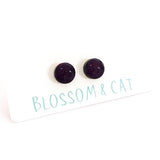 blossom and cat earrings 'mini dot studs' dark purple