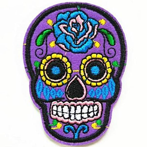 embroidered patch 'sugar skull' purple