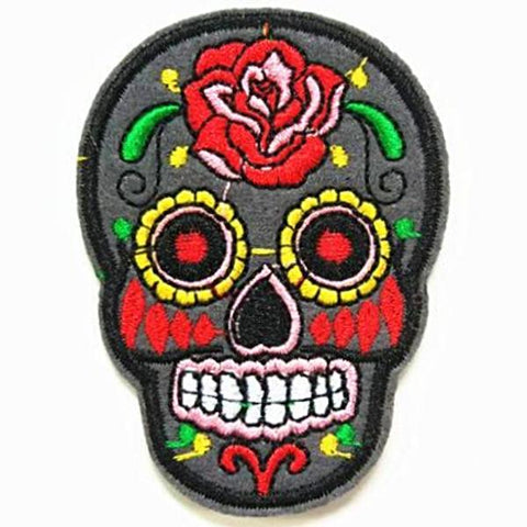 embroidered patch 'sugar skull' charcoal