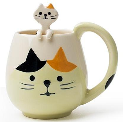 decole animal mug & spoon 'cat tortoiseshell'