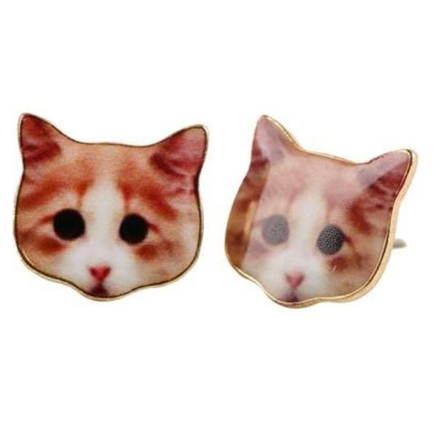 sugar earrings 'enamel ginger cat'