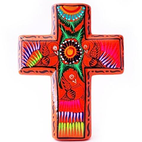 mexican wall vase 'tulum cross' orange
