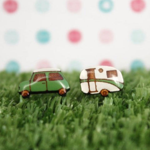 BOK BOK B'GERK 'CAR & VAN' EARRINGS GREEN
