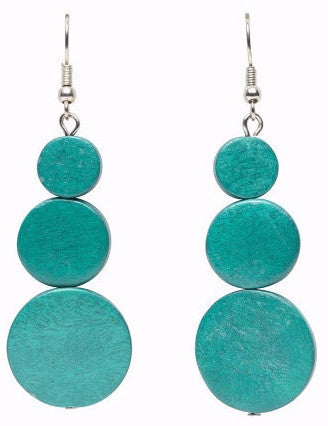ELK '3 DISC' DROP EARRINGS TURQUOISE