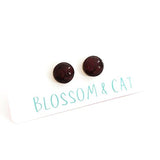 blossom and cat earrings 'mini dot studs' burgundy