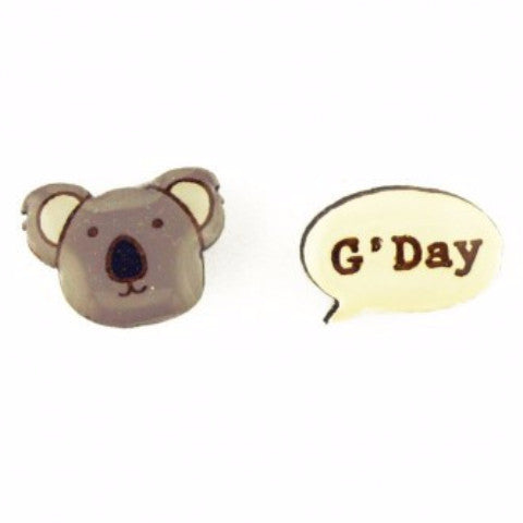 bok bok b'gerk earrings 'koala g'day'