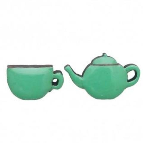 bok bok b'gerk earrings 'cup of tea' green