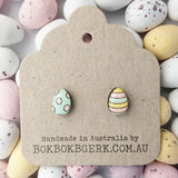 bok bok b'gerk earrings 'easter egg' dots & stripes