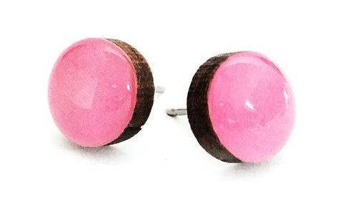 blossom and cat earrings 'mini dot studs' hot pink