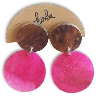 kimba design earrings 'resin round double drop pink'
