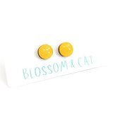 blossom and cat earrings 'mini dot studs' indian yellow