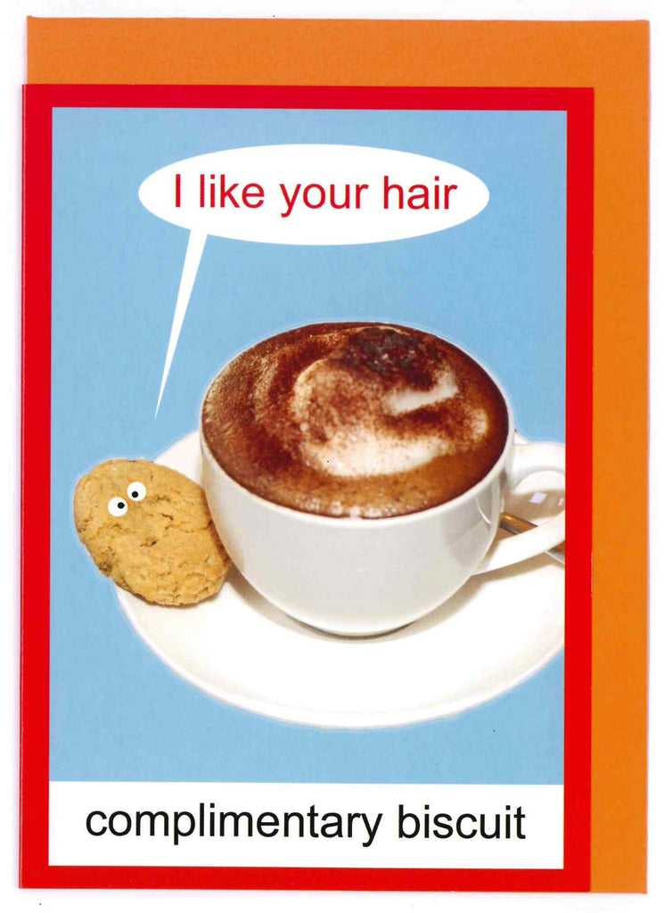 kiss me kwik greeting card 'complimentary biscuit'