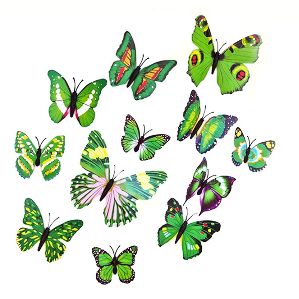 wall sticker '3D butterflies 12 pack' green multi with pin