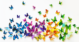 wall sticker '3D butterflies 12 pack' green
