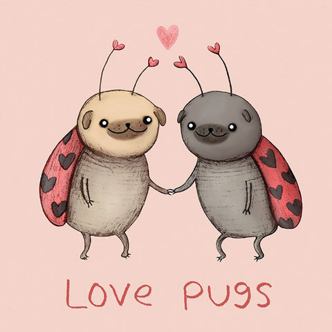 la la land mini card 'love pugs' - the-tangerine-fox