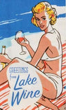 blue q dish towel 'greetings from lake wine'