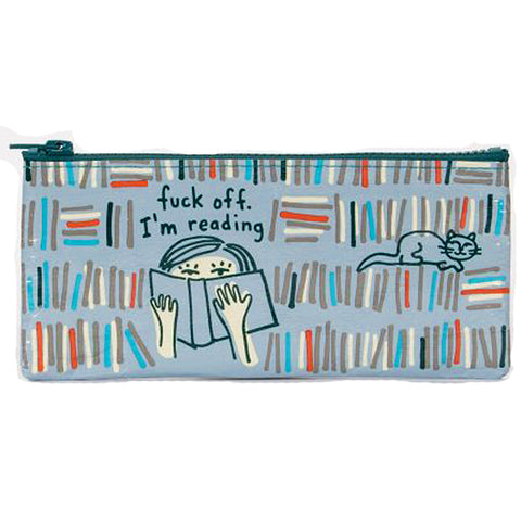 blue q pencil case 'f*ck off i'm reading'