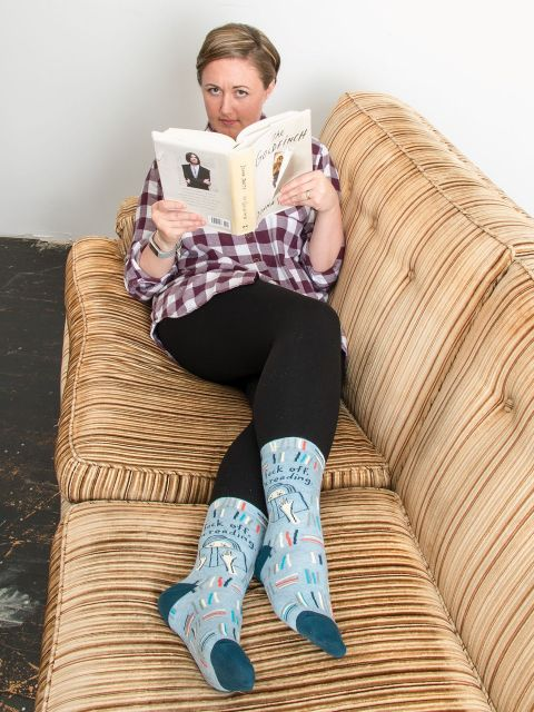 blue q women's socks 'f*ck off i'm reading' - the-tangerine-fox