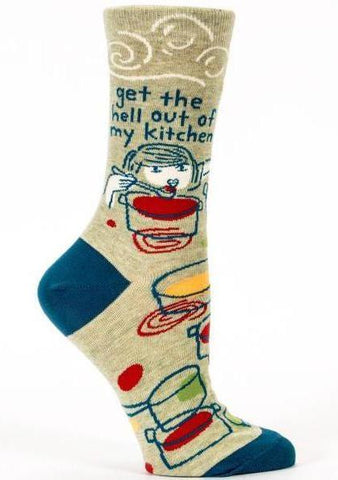 blue q women's socks 'get the hell out of my kitchen'