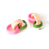flock curiosity assembly earrings 'triple link drops' olive, dusty pink & barbie pink