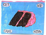 blue q zipper pouch 'get me cake now'