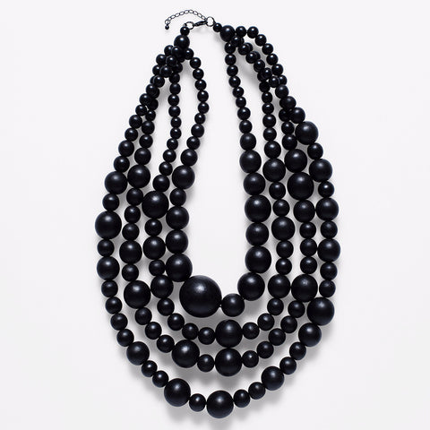ELK '4 STRAND BAUBLE' NECKLACE BLACK