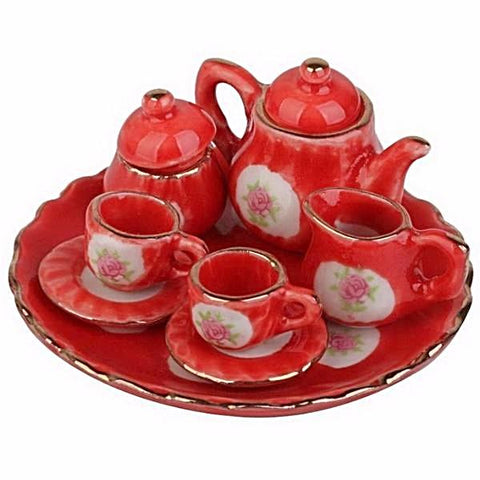 miniature ceramic tea set 'red floral'