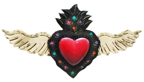 mexican heart 'tin with wings' large