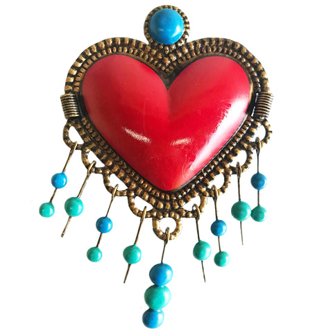 mexican tin 'heart with hanging marbles' wall hanging