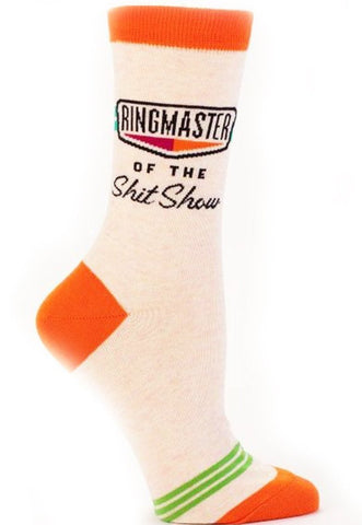 blue q women's socks 'ringmaster of the sh*t show'