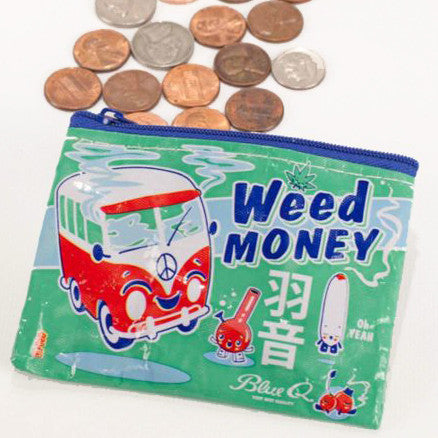 blue q coin purse 'weed money' - the-tangerine-fox