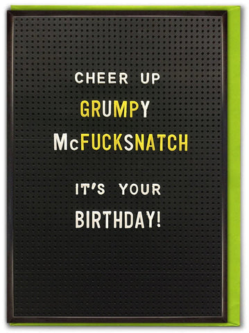 brain box candy greeting card 'grumpy mcf*cksnatch'