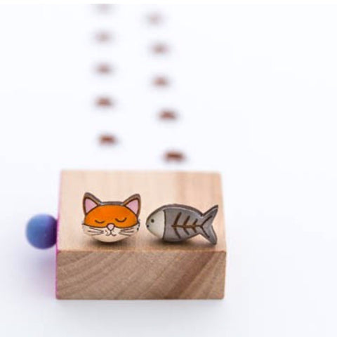 bok bok b'gerk earrings 'theodore the cat'