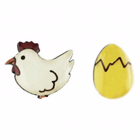 bok bok b'gerk earrings 'chicken & egg'
