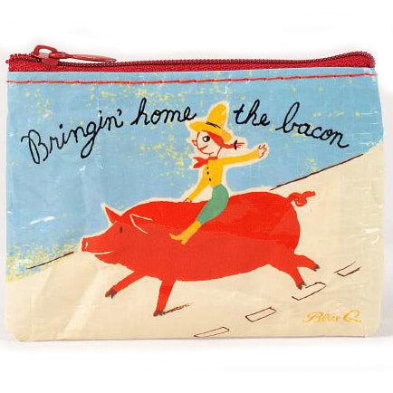 BLUE Q COIN PURSE 'BRINGIN' HOME THE BACON'