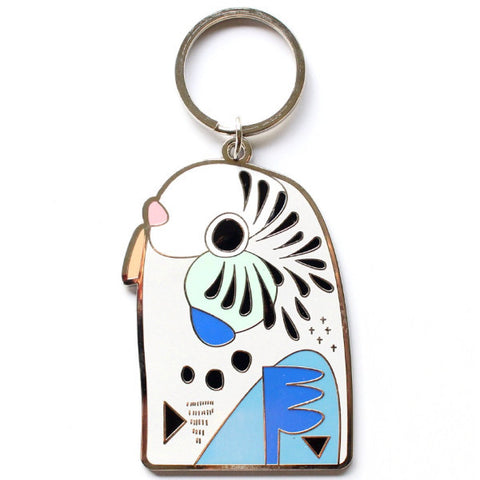 PETE CROMER 'BUDGERIGAR' ENAMEL KEY RING BLUE