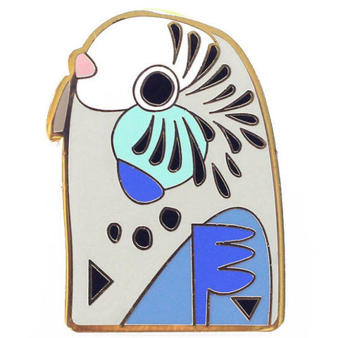 PETE CROMER 'BUDGERIGAR' ENAMEL PIN BLUE