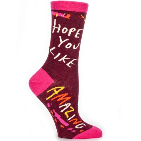 BLUE Q WOMEN'S SOCKS 'HOPE YOU LIKE AMAZING'