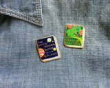 jane mount enamel pin 'hitchhiker's guide to the galaxy book'