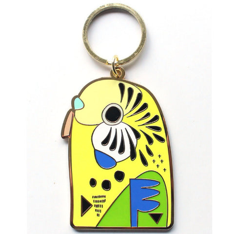 PETE CROMER 'BUDGERIGAR' ENAMEL KEY RING