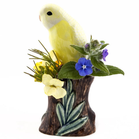 quail ceramics bud vase 'budgerigar' yellow