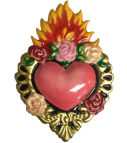 mexican heart 'tin heart with flowers & gold'