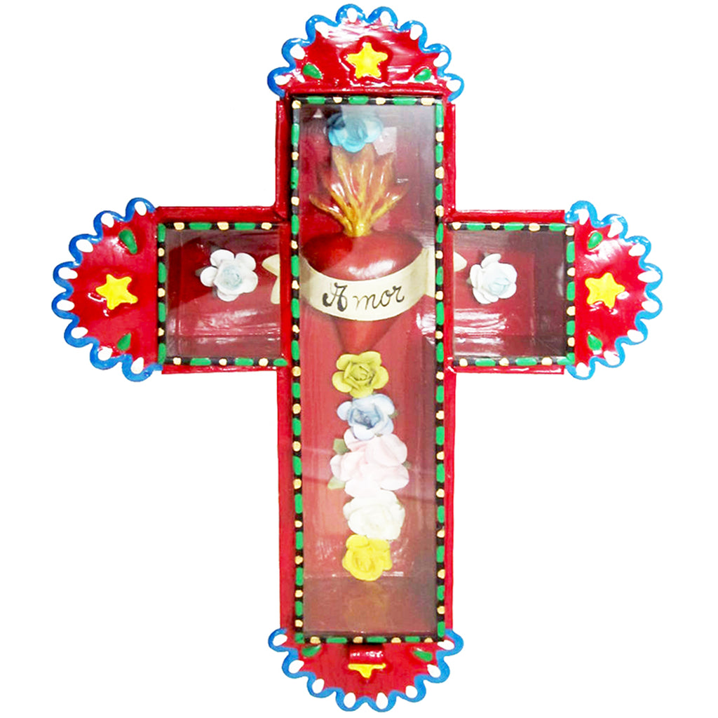 mexican wall cross 'tin amor' red