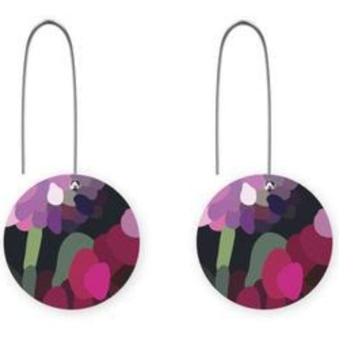 moe moe design earrings 'bloom kimmy circle long drop'